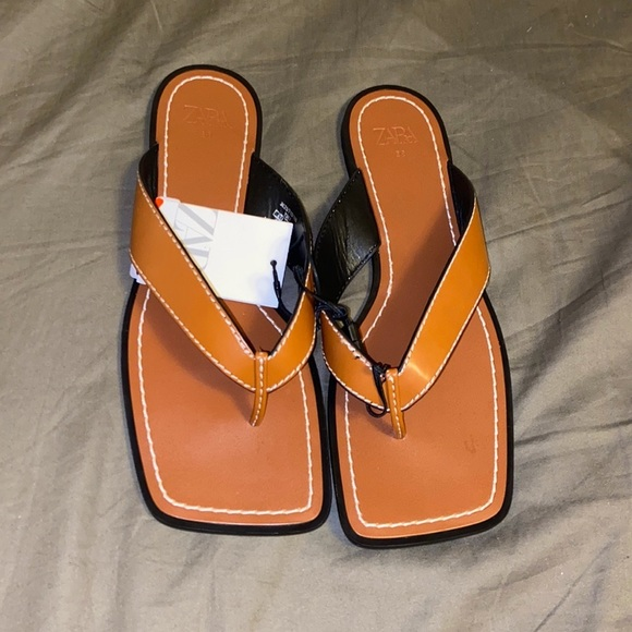 Brown low square toe leather stitched sandal